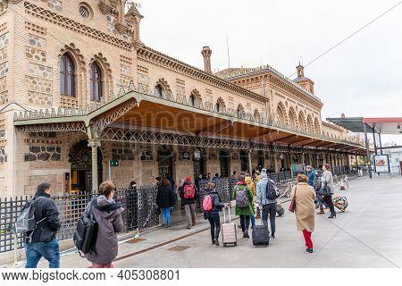 Toledo / Spain - January 20th, 2020 Passengers Walking In Toledo Train Station