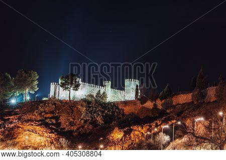Albergue Castillo San Servando Castle Light Up At Night, Toledo, Spain