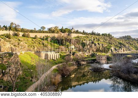 Mountain View Of Toledo Landscape With Tagus River On Sunny Day