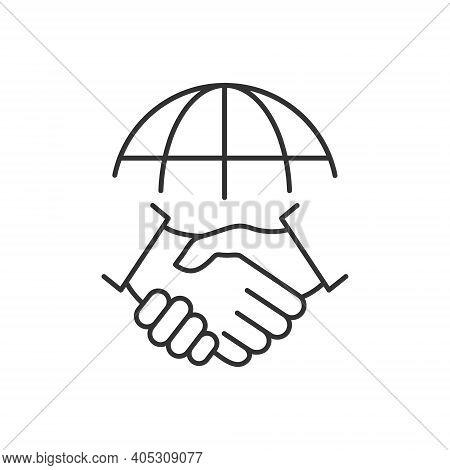 Handshake And Globe Line Icon. International Agreement Concept. World Partnership Linear Symbol. Vec