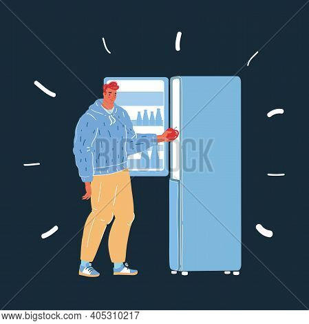 Vector Illustration Of Man Use Fridge. Woman Take Refrigerator. Pulls An Apple Out Of The Fridge On