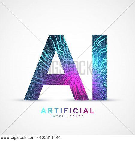 Artificial Intelligence Logo Plexus Effect. Artificial Intelligence And Machine Learning Concept. Ve