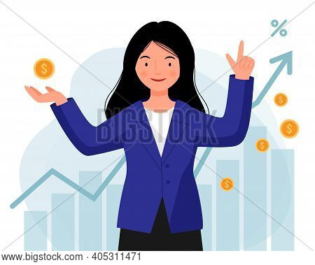 Woman In A Jacket Successfully Invests Her Money. A Girl Stands With Coins In Her Hands On The Backg