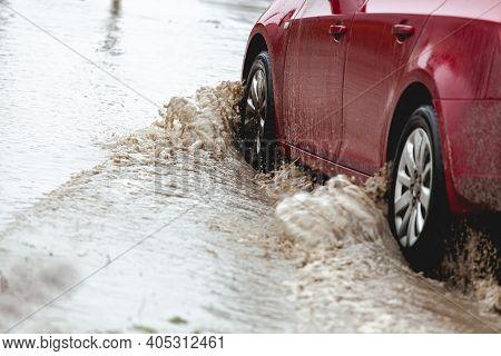 Car Stuck In The Mud, Car Wheel In Dirty Puddle, Rough Terrain