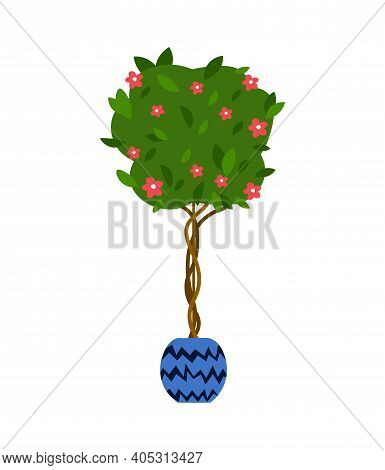 Indoor Tree .vector Illustration Flower, Plant Growing In A Pot. Potted Plant Icon. Indoor Plant In