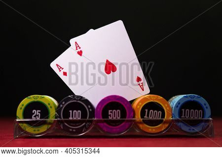 Casino chips rack on a gaming table