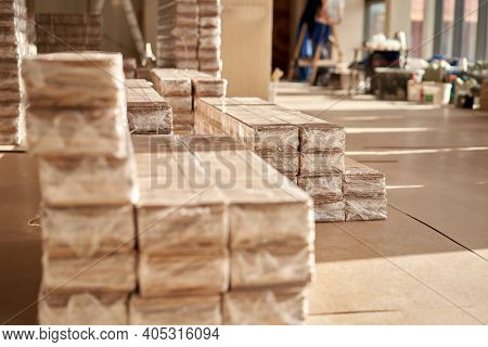 Panels Of The Parquet Floor. Plywood Boards On The Industry. Preparation For The Flooring Of The Par