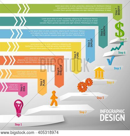 Upward Direction Staircase Successful Business Steps Concept Infographic Vector Illustration
