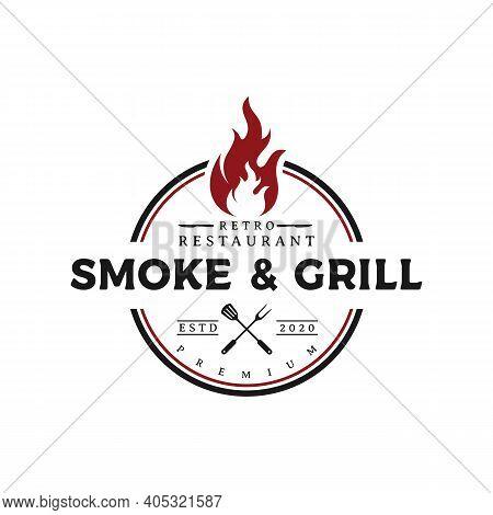 Rustic Vintage Bbq Grill, Barbecue, Barbeque Label Stamp Logo Design