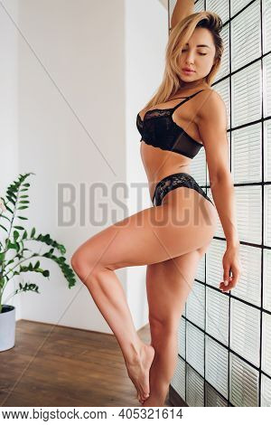 Beautiful Young Slender Woman Model With A Beauty And Health.