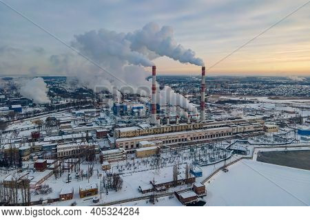 Global Warming. Pipes Pollute Industry Atmosphere With Smoke Ecology Pollution, Industrial Factory P