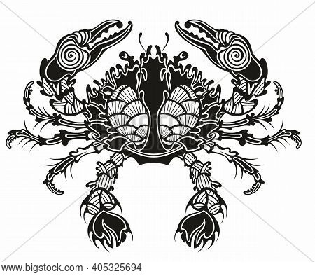 Crab. Sea Crab  By Graphic Style  For A Menu Of Fish Restaurants, For Packaging In Markets And In St