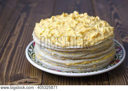 Pancake Cake With Lemon Curd And Cream