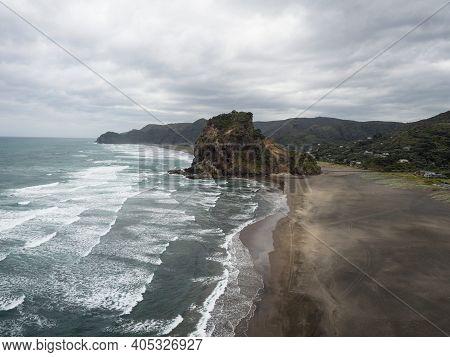 Panorama View Of Lion Rock On Piha Beach Tasman Sea Coast West Auckland Waitakere Ranges North Islan