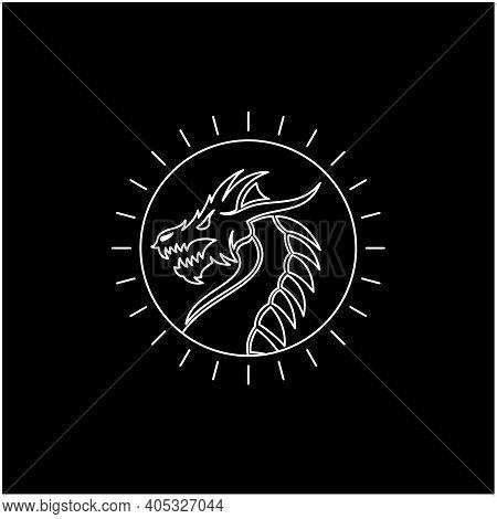 Line Art Sunlight With Chinese Dragon Snake Monster Medallion Emblem Label Logo Design
