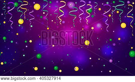 Colorful Scattered Seamless Paper Confetti, Ribbon And Bright Beads. Falling Particles For Carnival,