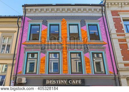 Oslo, Norway - October 29, 2016: Colourful Facade At Destiny Cafe Building In Oslo, Norway.