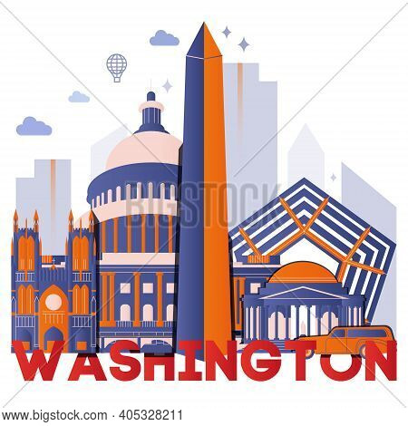 Washington Culture Travel Night Set, Famous Architectures And Specialties In Flat Design. Business T