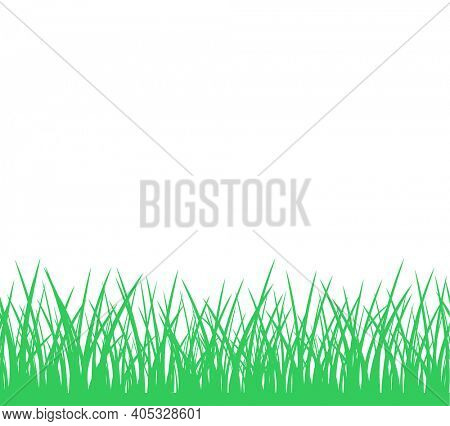 Green sward grass seamless row on white background for Easter and spring greeting card, social media, seasonal discount, football promo