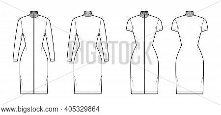 Turtleneck Zip-up Dress Technical Fashion Illustration With Long, Short Sleeves, Knee Length, Fitted
