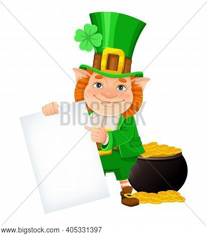 Stock Vector Leprechaun. Happy St Patrick's Day. Cheerful Leprechaun Cartoon Character Holding Blank