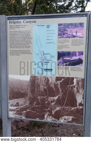 Bandelier National Monument,  New Mexico / Usa - October 13, 2014:  A Metal Informational Sign About