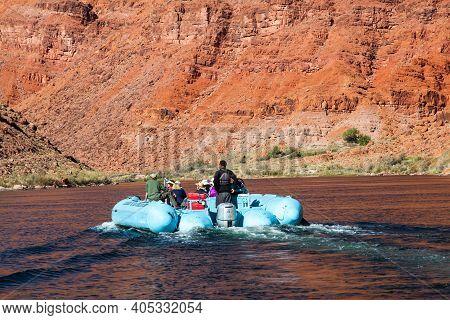Glen Canyon, Arizona / Usa - October 30, 2014:  A Blue Rubber Raft Owned By The Colorado River Disco