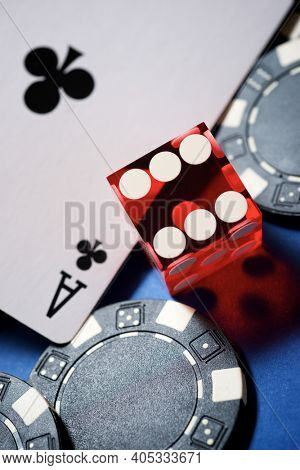 Ace card, dice and casino chips.