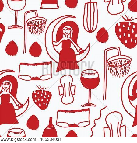 Vector Repeating Pattern, Menstruation Period Symbols As Knickers, Glass Of Red Wine, Tampons, Pads,