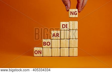 Success Onboarding Process Symbol. Wooden Cubes Stacking As Step Stair On Orange Background, Copy Sp