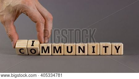 Community Immunity Symbol. Doctor Turns Cubes And Changes The Word 'community' To 'immunity'. Beauti