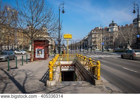 Budapest, Hungary, March 2020, View Of Kodaly Korond Station Entance On Andrássy Avenue