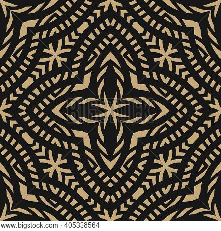 Golden Ornamental Geometric Seamless Pattern. Abstract Gold And Black Floral Ornament. Elegant Backg