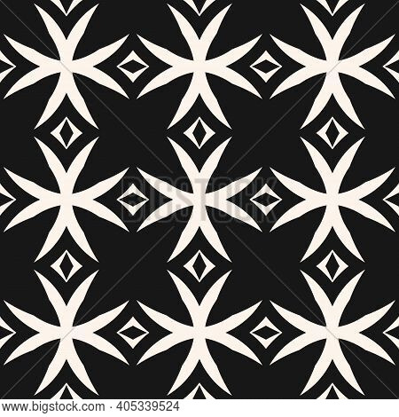 Monochrome Vector Seamless Pattern. Black And White Geometric Ornament Texture With Crosses, Diamond