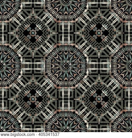 Textured Seamless Pattern. Tapestry Vector Background. Repeat Grunge Backdrop. Embroidery Tribal Eth