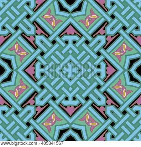 Celtic Style Seamless Pattern. Vector Ornamental Colorful Background. Repeat Decorative Tribal Ethni