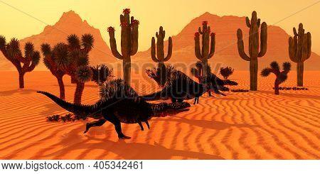 Arizonasaurus Dinosaur Desert 3d Illustration - Three Arizonasaurus Dinosaurs Go Hunting For Prey At