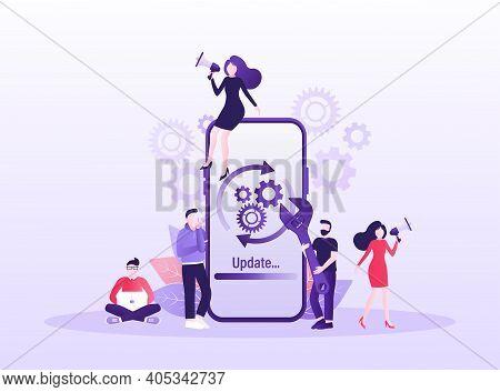 Cartoon Software Update People For Mobile App Design. Isometric Vector Illustration. Mobile Applicat