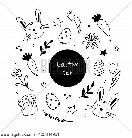 Set Of Easter Design Elements. Cute Faces Of Rabbits, Festive Easter Eggs, Easter Cake, Spring Twigs