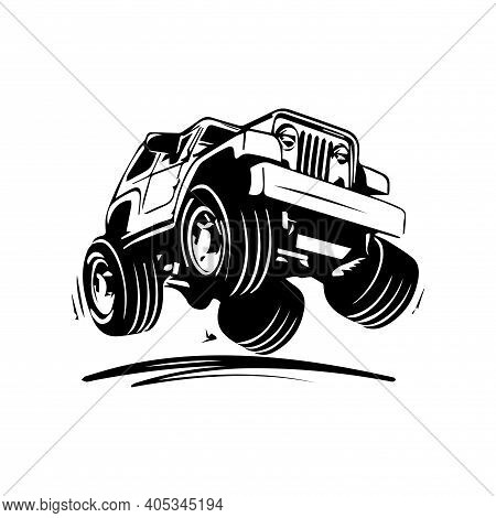 Funny Vector Drawing Of Offroad Car That Overcomes Off Road