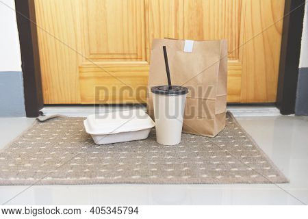 Contactless Delivery During A Pandemic Covid-19 Stay At Home, Online Shopping Food Boxes Contactless