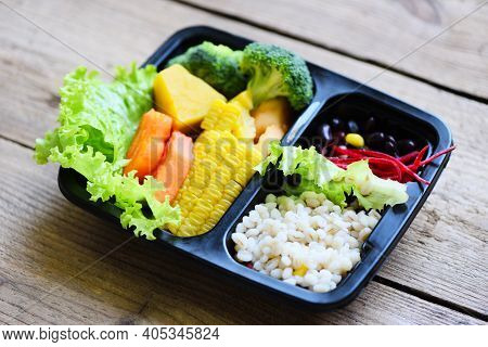 Food Delivery In Take Away Boxes Package On Wooden Table At Home, Plastic Box Food With Healthy Food
