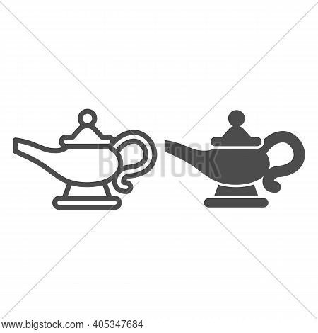 Magic Lamp Line And Solid Icon, Fairytale Concept, Genie Lamp Sign On White Background, Watering Can
