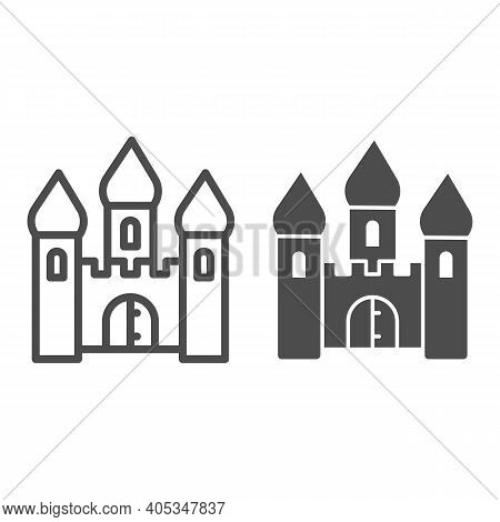 Medieval Castle Line And Solid Icon, Fairytale Concept, Tower Ancient Building Sign On White Backgro