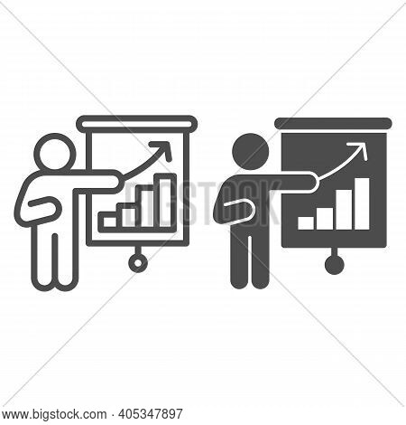 Person With Presentation Line And Solid Icon, Corona Downturn Concept, Business Presentation Sign On
