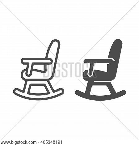Rocking Chair Line And Solid Icon, Winter Season Concept, Rocker Sign On White Background, Chair Roc