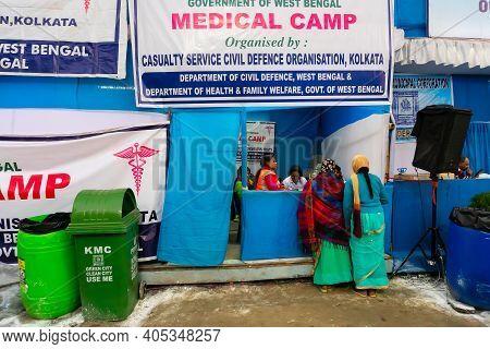 Kolkata, West Bengal, India - 12th January 2020 : Women Devotees Visiting Medical Camp At Gangasagar