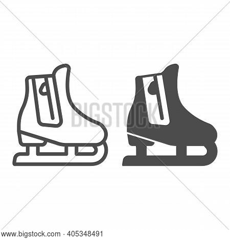 Skates Line And Solid Icon, Winter Season Concept, Skating Sign On White Background, Hockey Skates S