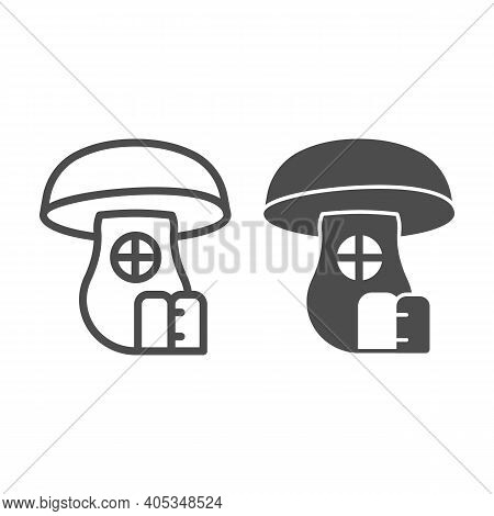Mushroom House Line And Solid Icon, Fairytale Concept, Hobbit House In Form Of Mushroom Sign On Whit