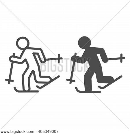 Running Skier Line And Solid Icon, Winter Season Concept, Cross-country Skiing Sign On White Backgro